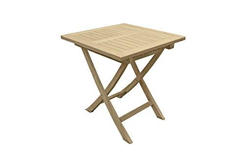 Unbekannt VARILANDO quadratischer Gartentisch S1 aus unbehandeltem Teak Holztisch Esstisch Kaffeetisch Balkontisch