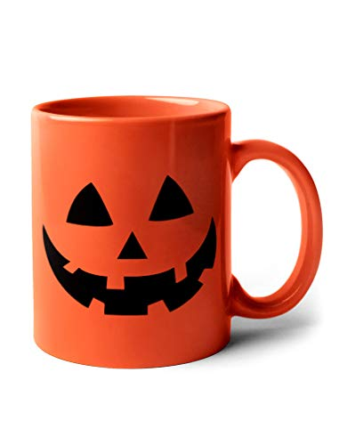 Jack O Lantern Cup Halloween Pumpkin Face Coffee Mugs 11 Oz. Orange