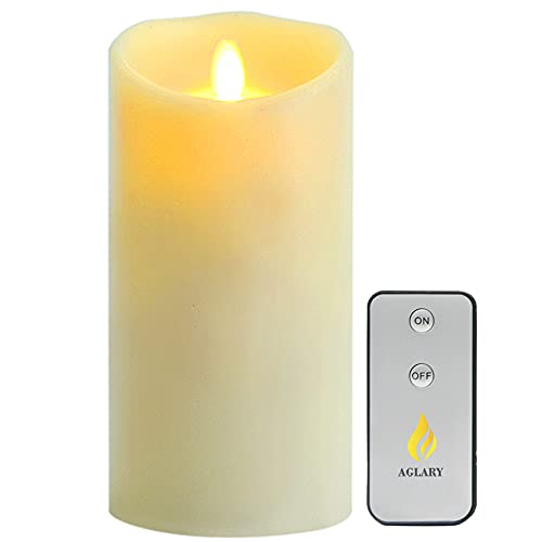 AGLARY Battery Operated LED Candle, Remote Control Candles with Moving Flame, Wave Top Real Wax, Vanilla Scented 7' Ivory for Home, Party Decoration