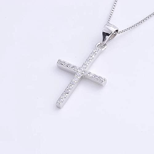 Colgantes Femeninos de Cruz Grande de circonita de Plata de Ley 925, Collares de Cadena Larga para joyería de Mujer