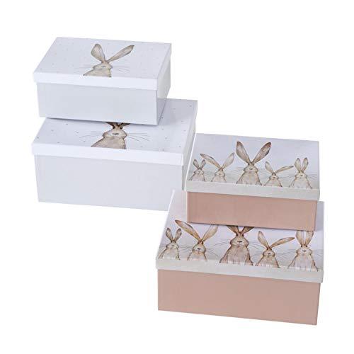 Geschenkschachtel Kartonage Box 4er Set Hase Hasenfamilie Ostern L 23-30,5cm rechteckig