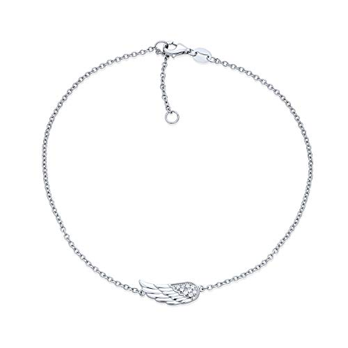 Bling Jewelry Delicate Protection Guardian Angel Wing Feather Anklet Charm...