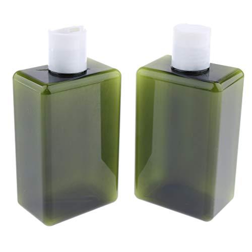 Fenteer 2pcs Bouteilles de Lotion Gel Douche Flacons plastique - Vert