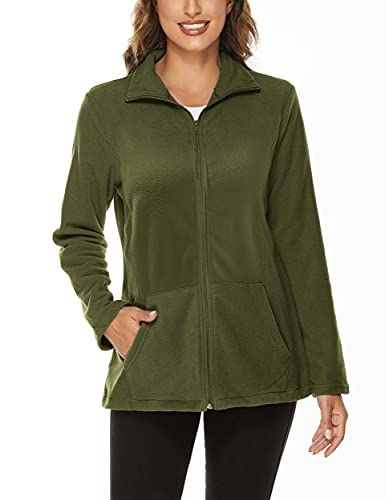 Warm Up Jacket Women, Hibelle Winter Comfy Midweight Microfleece Coat Zipped Up Collared Polar Heated Designed Tops Handy Pockets Relaxed Fit Track Walking Shirts Army Green Large