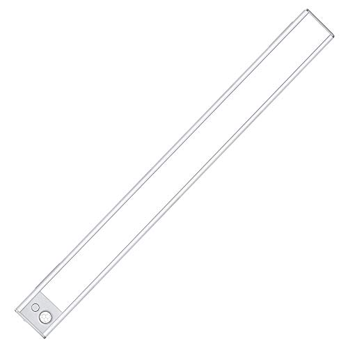 LED Closet Light, 140-LED Dimmable Motion Sensor Under Cabinet Light with 3 Color Temperature Rechargeable Battery Wireless Stick on Night Light Bar Safe Lights for Wardrobe Stairs Bedroom Hallway