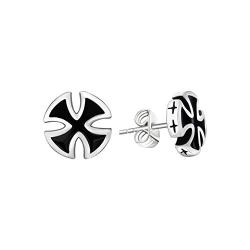 BlackAmazement 2er Set 316L Edelstahl Ohrstecker Eisernes Kreuz Templerkreuz Celtic Iron Cross silber schwarz Biker Metal Gothic Damen Herren