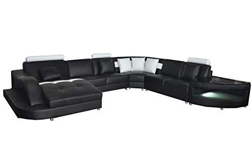 JVmoebel L6015 - Divano angolare in pelle, design moderno a forma di U