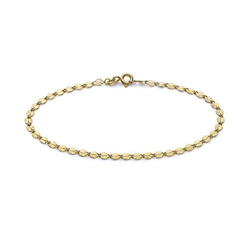 Carissima - Pulsera de cadena de oro amarillo de 9 quilates, 2,8 mm, corte diamantado, 18,5 cm