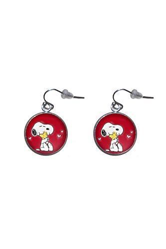 Edelstahl hängende Ohrringe, Durchmesser 20mm, handgemacht, Illustration Snoopy 2