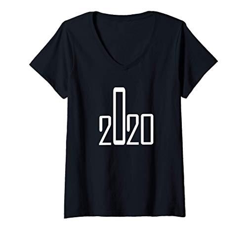 Femme 2020 montre le doigt du milieu ! La distance sociale 2020 T-Shirt avec Col en V