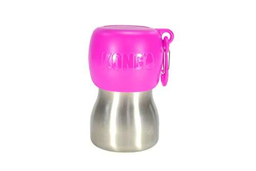KONG H2O Stainless Steel Dog Water Bottle & Pet Travel Bowl, 9.5 oz - Pink