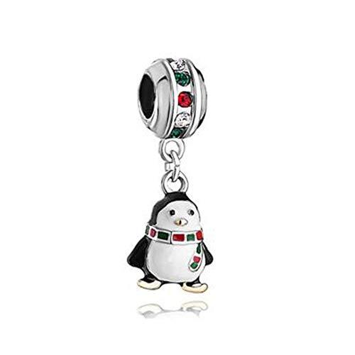 Pandora 925 Colgante De Plata Esterlina Chapado En Oro K Cristal Colorido Cuelga Negro Blanco Goteo Goma Bufanda Penguin Charm Bead Fit Pulsera