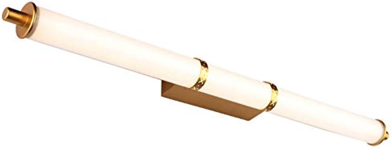 FXMJ Einfachheit Mode LED Feuchtigkeitsfest Spiegelleuchte Badleuchte, Gold Runde Rhre Geschnitzt Schminklicht Beleuchtung Badlampe,12W