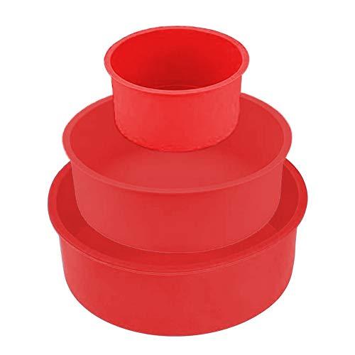 Moldes de Silicona para Tartas Redondos Molde Redondo de Silicona para Hornear Tartas Pastel Redondos de Pastel Redondos Bandeja Antiadherente 4 Pulgadas 6 Pulgadas 8 Pulgadas (rojo)