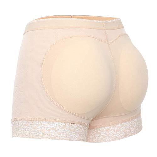 Joyshaper Culotte Rembourrée Dentelle Culotte Femme Short Sculptantes Panty Butt Lifter Push Up pour Monte Fesse Femme, Beige, XXL