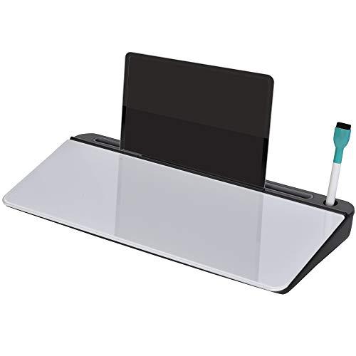 Vinsetto Tisch-Organizer Memoboard für Schreibtisch mit Tablettenständer Schreibtischorganizer Glas PP Weiß+Schwarz 45,3 x 20,5 x 5,3 cm