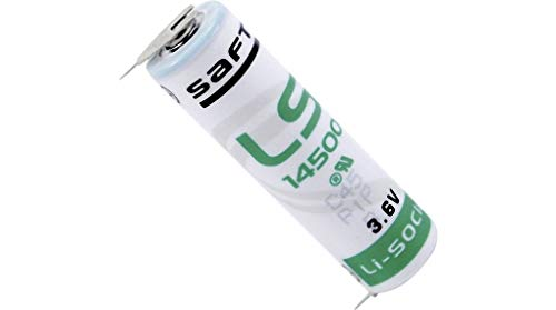 Saft LS14500–2PF batería de Litio Mignon 3,6V AA con Soldadura en 2de Print Metal