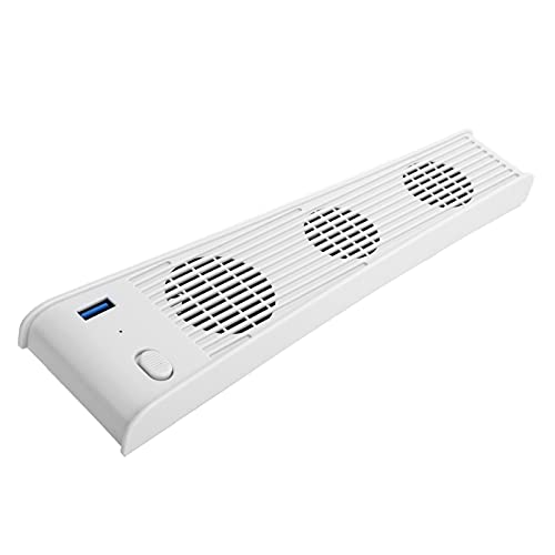Lazimin Ventilador de refrigeración para Consola de Juegos, Enfriador USB de Material ABS con 3 Ventiladores para PS5 DE/CD-ROM Game Host, Plug and Play(Blanco)