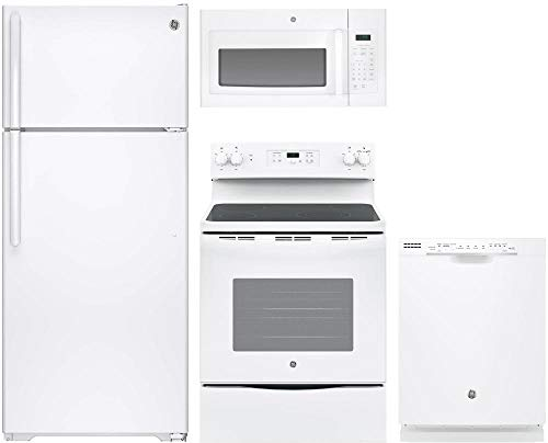 GE 4 Piece Kitchen Package with GTS18GTHWW 28' Refrigerator, JBS60DKWW 30' Freestanding Electric Range, GDF520PGJWW 24' Full Console Dishwasher and JVM3160DFWW 30' Over-the-Range Microwave in White