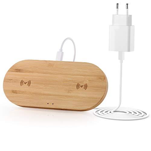 Veelink Bambus Dual Wireless Charger 10W induktives Ladepad, 2 Handys gleichzeitig Aufladen, kompatibel mit AirPods2, iPhone 11Pro/Max/XS/8/SE 2020, Galaxy S20/S10+/Note10/S9+ usw (Netzteil enthalten)