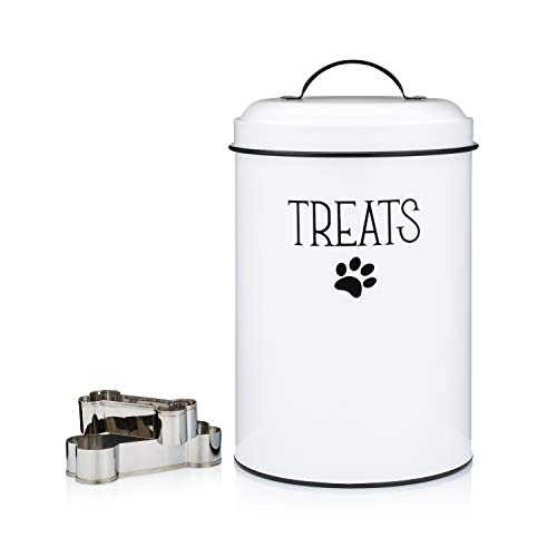 Homeflow White Dog Treat Container Plus 2 Bone-Shaped Cookie Cutters - Farmhouse Dog Treat Holder Jar - Durable Dog Biscuit Tin Canister, Great Gift for Pet Owners - Stylish Dog Treat Jar