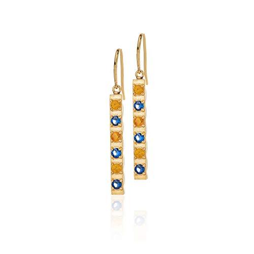 Honey Minx Women's Honey Bar Earrings Gold Sapphire/Topaz