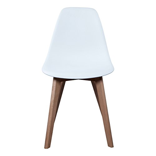 THE HOME DECO FACTORY HD3074/VP Lot de 2 Chaises Scandinave Bois/Plastique Blanc 46,20 x 52 x 86,40 cm