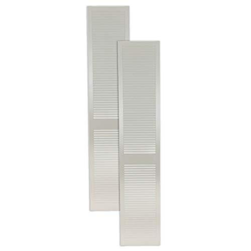 2-er Pack/Zwei Stück Lamellentüren weiß seidenmatt mit geschlossenen Lamellen Kiefernholz 2400 x 394 x 21 mm für Regale, Schränke, Möbel - EINBAUFERTIG grundiert & lackiert