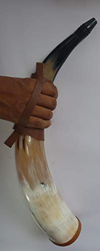 Corne de buffle traditionnelle fabriquée à la main : corne de chasse de style trompette, corne pour animation de 40,5 à 48 cm. Avec sangle en cuir.