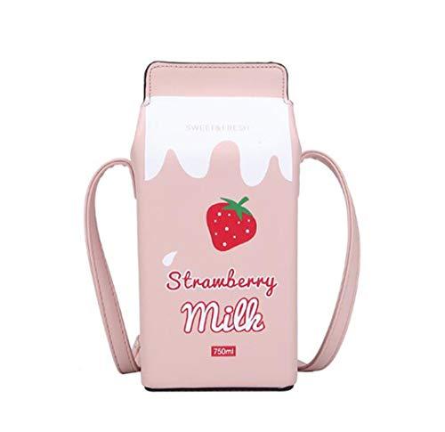 WILD FINDING Women Fruits Banana Strawberry Milk Box Cross Body Purse Bag Women Phone Wallet Shoulder Bags (strawberry), 9.6
