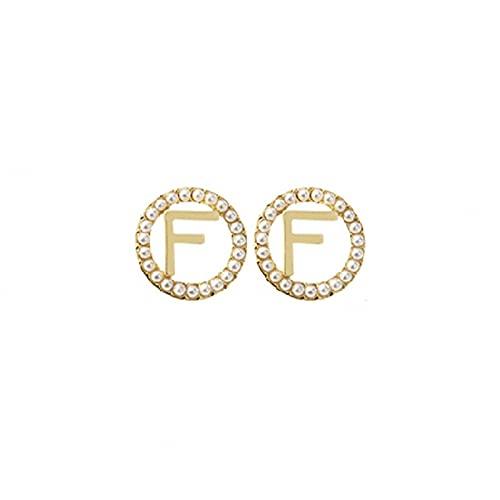 Pendientes con letra F de perlas S925 pendientes de nicho de temperamento de moda francesa de alta gama pendientes personalizados pendientes