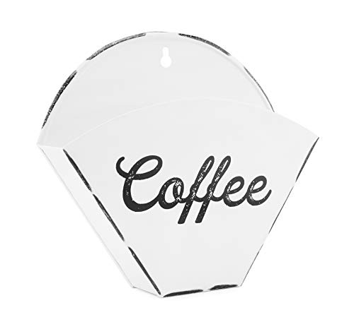 AuldHome Enamelware Coffee Filter Holder, Wall-Mount Vintage Farmhouse Style White Filter Storage Container