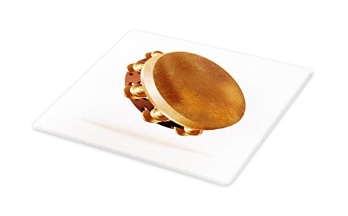 Lunarable Tambourine Cutting Board, Traditional Hand Percussion Instrument with Pair of Jingles Folk Rhythm, Decorative Tempered Glass Cutting and Serving Board, Large Size, Caramel Brown White