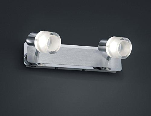 TRIO, Spot, Presley incl. 2 x LED,SMD,4,5 Watt,3000K,400 Lm. Acryl, Blanc, Corps: metal, Chrome L:30,0cm, H:8,0cm, P:17,0cm IP20,Interrupteur,OSRAM Inside,Montage au mur