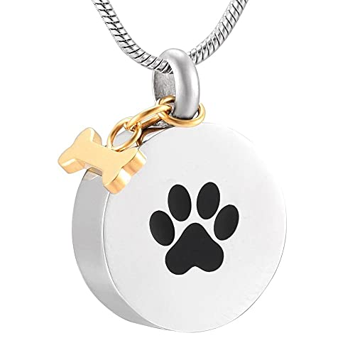 Collar de urna Pata de perro negro Impreso Colgante de urna de cremación redondo con pulido de oro Forma de hueso Charm Joyas de ataúd funerario