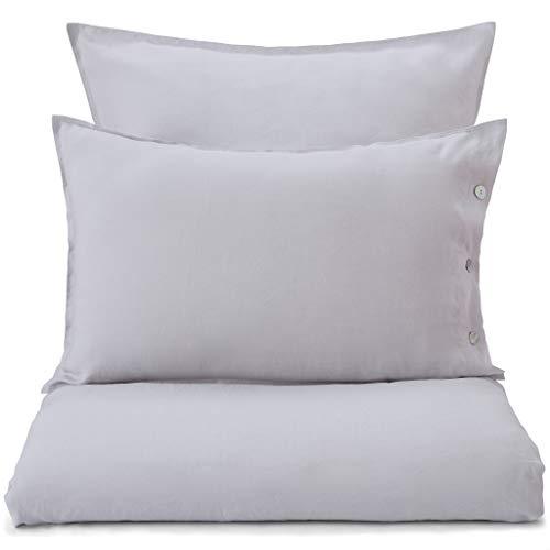 Parure de lit Urbanara « Bellvis » – 100 % pur lin, anthracite, Lin, gris clair, 80 x 40 cm
