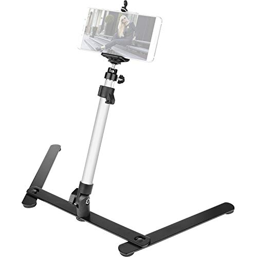 ChromLives Photo Copy Stand Pico Projector Stand with Phone Clamp Overhead Phone Mount Phone Stand Mini Tripod Adjustable Tabletop Monopod Stand Compatible with Smart-Phone