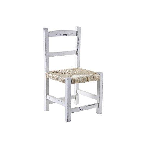 Petite chaise enfant en bois blanc vieilli