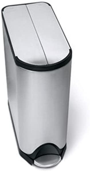 Simplehuman 45 Liter 11 9 Gallon Stainless Steel Butterfly Lid Kitchen Step Trash Can Brushed Stainless Steel