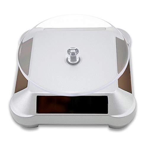 EPMEA0 1 UNID Solar Power BATERÍA 360 Soporte de Pantalla Giratorio Giratorio para Anillo Collar Pulsera Joyería 11 * 5 * 11cm (Color : Silver)