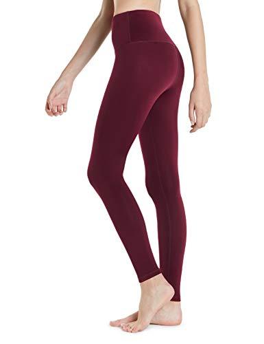 TSLA Fleece High-Waist Lined Leggings Tights Thermal Yoga Pants w Hidden Pocket Tummy Control, Thermal Yoga Pants(xyp83) - Wine, S, Xyp83 1pack - Wine, S
