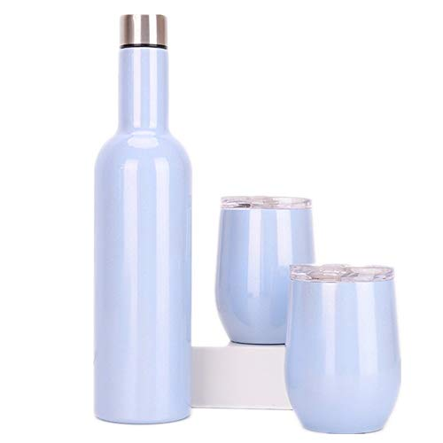 Bicchiere Da Vino Sottovuoto Outdoor portatile creativo termico in acciaio inox lungo collo bottiglia di vino rosso 304 Bottiglia di birra guscio d'uovo Cup Set ( Colore : Blu , Size : 750ml )
