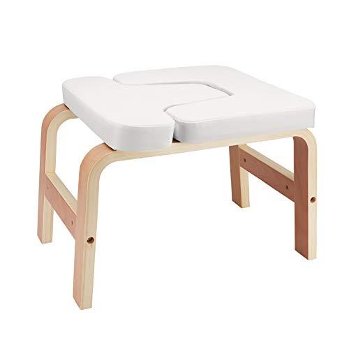 Kacsoo Taburete de pie para yoga con cojín extraíble de poliuretano de color blanco estable de madera de abedul.