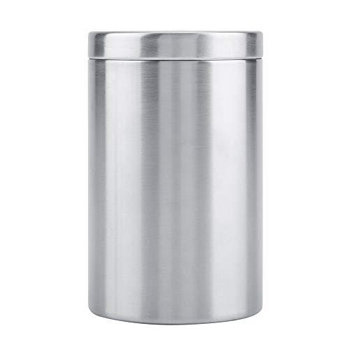 Caja de cigarrillos de acero inoxidable para hombre Caja de almacenamiento cilíndrica Bote pequeño para té Grano de café Azúcar Especias Algodón Bastoncillos