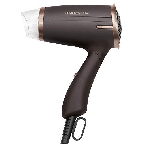 ProfiCare PC-HT 3009 Kompakter Haartrockner, platzsparende Aufbewahrung durch Klappgriff, 2 Temperatur-/Leistungsstufen, braun-bronze