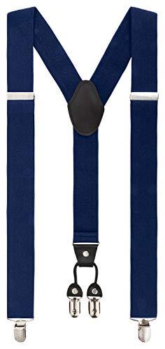 Fanucci 4 clips, forma y 3,5 cm, tirantes para pantalones, color azul oscuro, para mujeres, jóvenes, hombre, navidad, pantalones de trabajo, traje extrafuertes, clip vintage XXL, azul oscuro