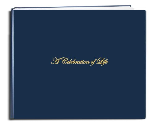 "BookFactory Funeral Guest Book""A Celebration of Life"" / Memorial Book/Memorial Guest Book (48 Page - 8 7/8"" x 7�), Blue (Imitation Leather), Smyth Sewn Hardbound (LOG-048-97CS-LBT64-(Funeral-REG))"