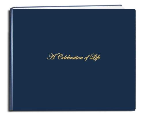 "BookFactory Funeral Guest Book""A Celebration of Life"" / Memorial Book/Memorial Guest Book (48 Page - 8 7/8"" x 7""), Blue (Imitation Leather), Smyth Sewn Hardbound (LOG-048-97CS-LBT64-(Funeral-REG))"