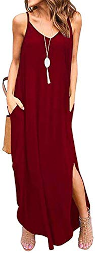 Mojoun Women Summer Casual Plain Floral Sleeveless V Neck Strappy Split Loose Long Dress Beach Cami Maxi Dress with Pocket,Red,Small
