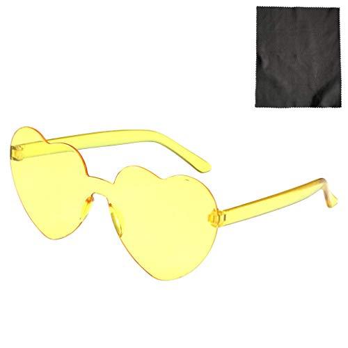 YWLI Herz Sonnenbrille Retro farbige Gläser Brille Herzform Valentinstag Karneval Party Brille für Frauen Männer (D)